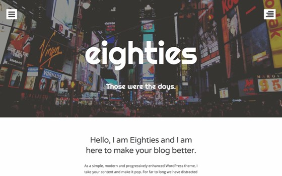 eighties free wordpress theme