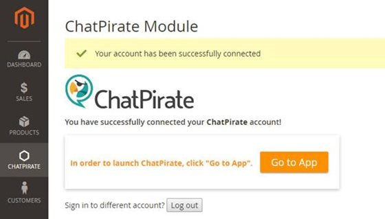magento 2 chatpirate go to app button