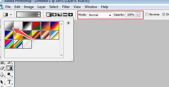 set gradient properties - photoshop tutorial