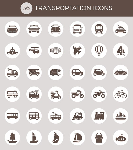 36 free transportation vector icons