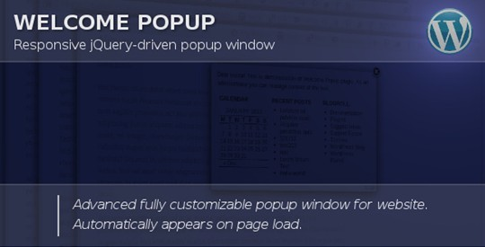 Widgetized Welcome Popup