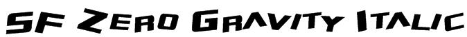 SF Zero Gravity Italic Font