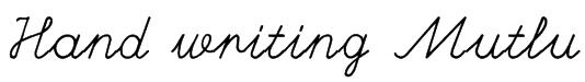 Hand writing Mutlu Font