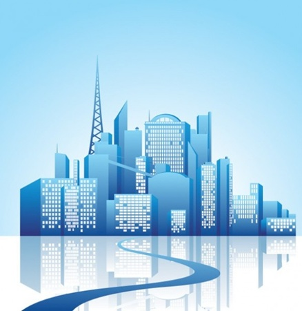 blue,creative,design,download,eps,graphic,illustration,illustrator,original,vector,web,city,silhouette,buildings,unique,vectors,reflection,skyline,skyscrapers,quality,stylish,fresh,high quality,city scene vector