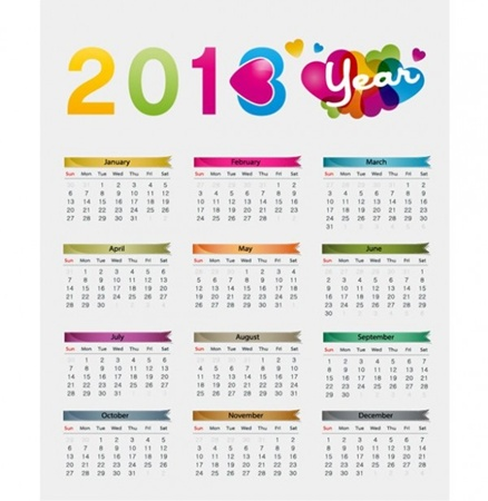 calendar,creative,design,download,elements,eps,graphic,illustrator,new,original,vector,web,hearts,detailed,interface,unique,colorful,vectors,quality,stylish,2013,fresh,high quality,ui elements,hires,2013 calendar,2013 year calendar,yearly vector