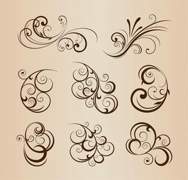 set,vector,floral,vectors,ornaments,decorations,flourish,floral elements,floral vector elements vector