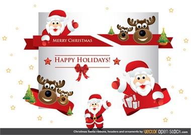 santa,set,vector,christmas,header,reindeer,vectors,ribbons,greetings vector