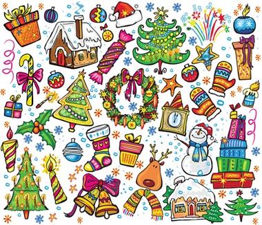 vector,christmas,background,snowman,cartoon,pattern,reindeer,vectors,christmas elements,mittens vector