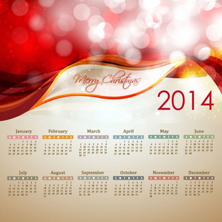 calendar,red,vector,christmas,abstract,vectors,waves,glowing,2014,bokeh,2014 calendar vector