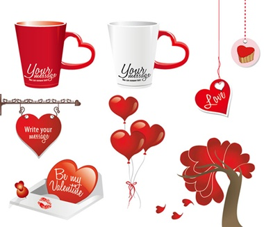 card,heart,message,red,set,tags,tree,vector,balloons,cards,valentines,vectors,decorations,cups,hanging sign,valentine's,valentines day vector