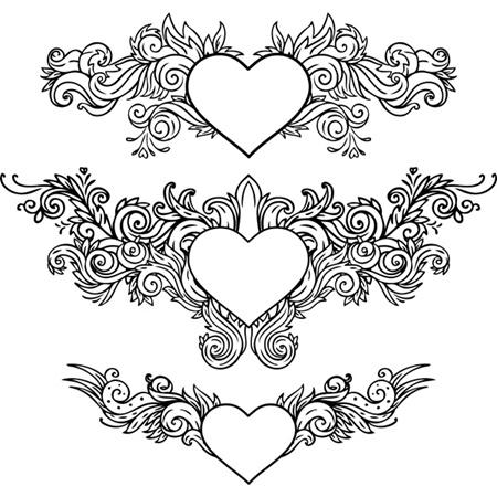 vector,hearts,valentines,floral,decoration,vectors,ornaments,vector hearts vector