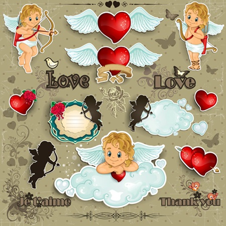 clouds,day,love,vector,hearts,butterfly,valentines,silhouette,vectors,wings,cupid,cutout,valentine's vector