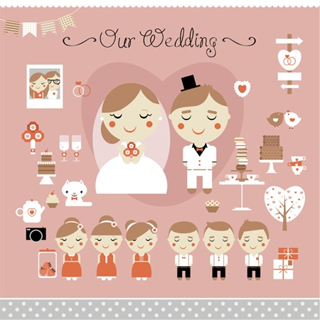 card,couple,pack,set,vector,cartoon,wedding,vectors,best man,maid of honor,vector wedding elements,wedding elements vector