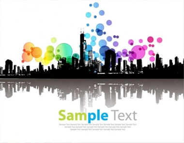 eps,illustration,vector,cdr,city,modern,silhouette,abstract,vectors,high quality,colorful circles vector