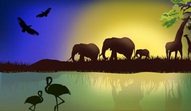 download,elephant,nature,vector,landscape,africa,water,grass,animals,vectors,sky,tropical,beutifull,est,wilderness vector