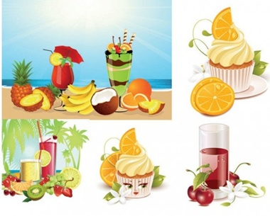 kiwi,lemon,orange,flowers,coconut,beach,vectors,palms,grapes,pineapple,bananas,beverage,ice cream,coconut trees,cold drinks vector