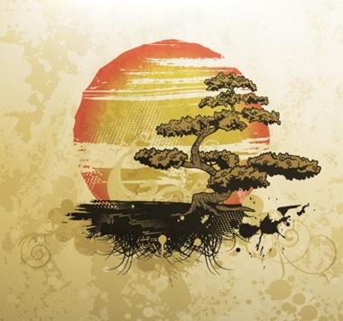 graphic,red,sun,tree,vector,vintage,yellow,background,island,vectors,bosai tree vector