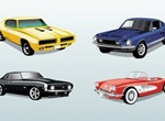 4 Legendary Vintage Sports Cars Vector Set