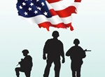 US Military Soldiers Silhouette & Flag Vector Graphic