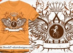 Winged Shield And Crown Vector Logo