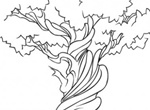 Hand Drawn Twisted Tree Vector Graphic