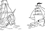2 Sketched Pirate Ships Vector Set