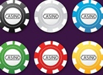6 Colorful Casino Poker Chips Vector Set