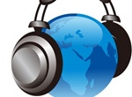 Glass Earth Globe With Headphones Vector