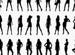 55 Lovely Ladies Silhouette Poses Vector Set