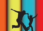 Wide Stripe Background With People Silhouettes