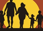 Mom Dad & Kids Family Sunset Silhouette
