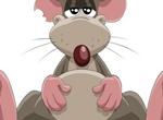 Cute Cartoon Rat With Chewed Ear Vector