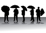 People With Umbrellas Vector Silhouettes