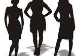 3 Businesswomen Silhouettes Vector Graphics