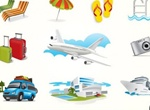 10 Vacation & Travel Theme Elements Vector Set