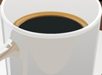 Cup Of Black Coffee Office Vector Illustration
