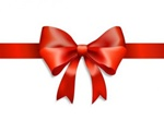 Shiny Red Ribbon & Bow Gift Vector Graphic