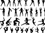 39 Women Aerobics Vector Silhouettes Set