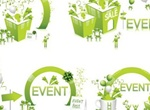 4 Green Celebration Events Vector Illustrations
