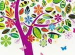 Colorful Abstract Tree With Butterflies Vector Design