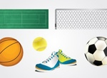 6 Sports Balls Shoes And Court Vector Graphics