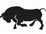 Charging Black Bull Vector Silhouette