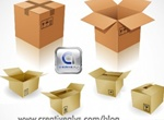 Cardboard Box Package Mockups Vector Set