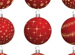 9 Decorated Christmas Balls Vector Set