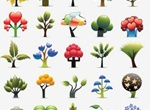 25 Funky Abstract Trees Icons Vector Set
