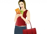 Happy Coupon Shopping Girl Vector Graphic