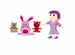 Cartoon Girl With Critter Friends Vector Set