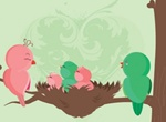 Baby Chick Birds Vector Illustration