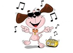 Cool Cartoon Dancing Dog Vector Graphic