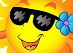 Cartoon Smiling Sun Vector Illustration